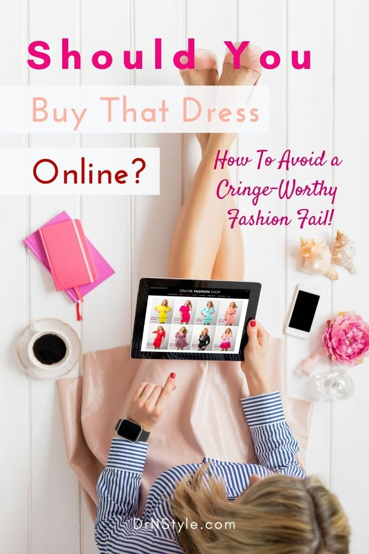 Woman wearing a striped blouse and pink skirt is shopping online for the perfect dress.