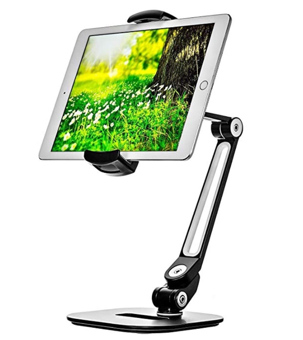 If you are looking for gift ideas for your husband or dad who loves to cook, this iPad holder keeps tablet clean and accessible..