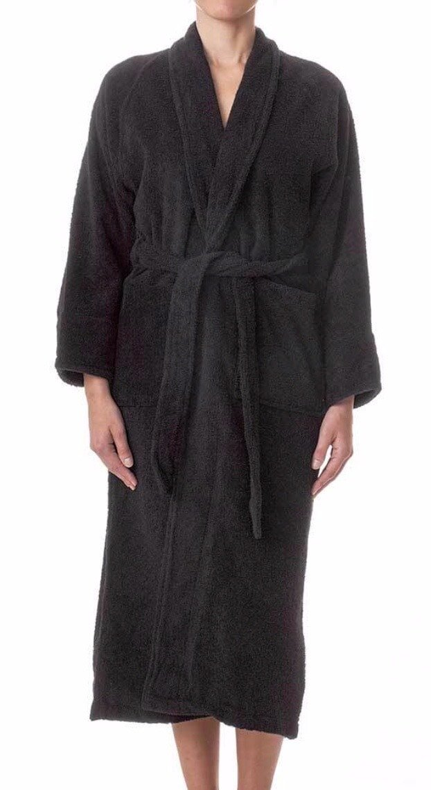 A luxurious Egyptian  Cotton  bath robe for him in black.