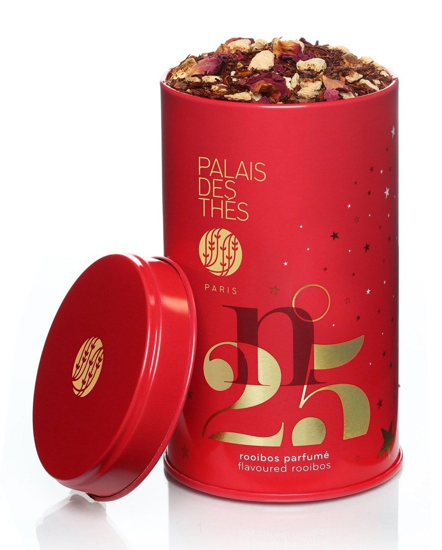 Another cool gift idea for men who enjoy tea, Christmas blend rooibos tea from Palais des Thes.