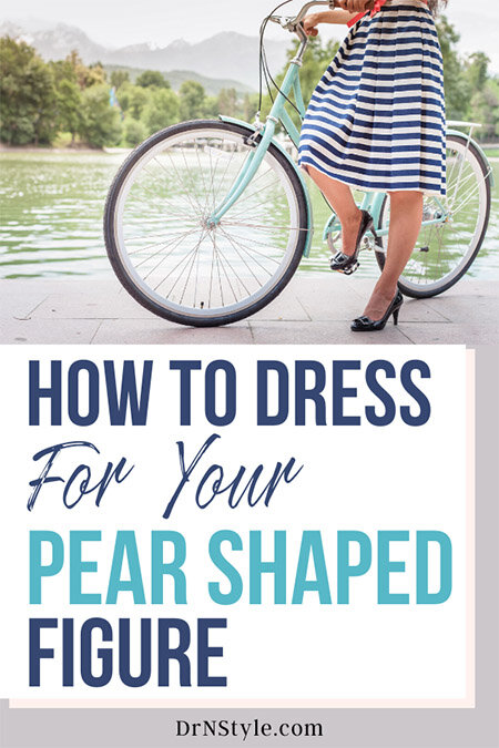 Woman walking next to her bike, how to dress your pear shaped figure.