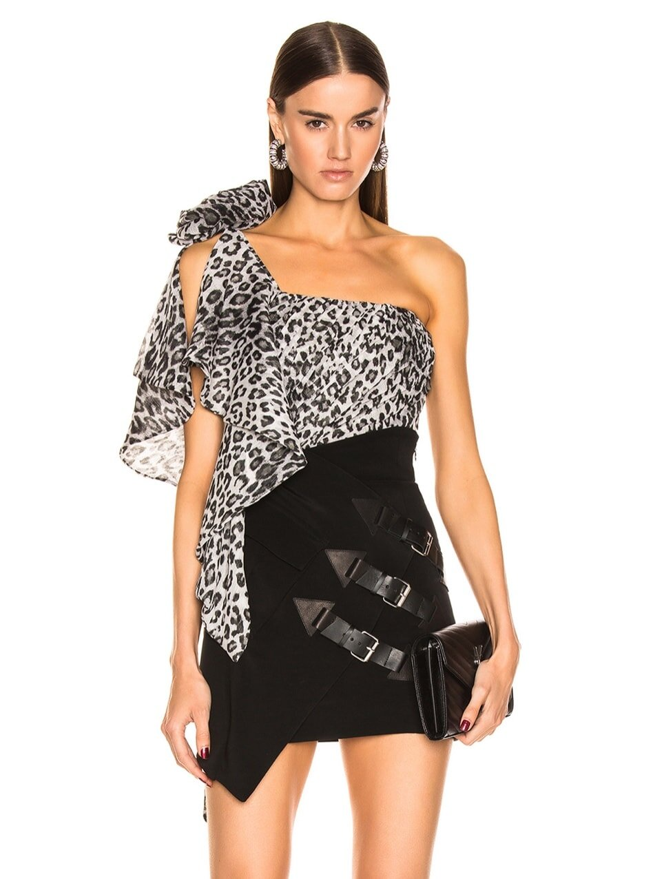 One shoulder black and white leopard print blouse