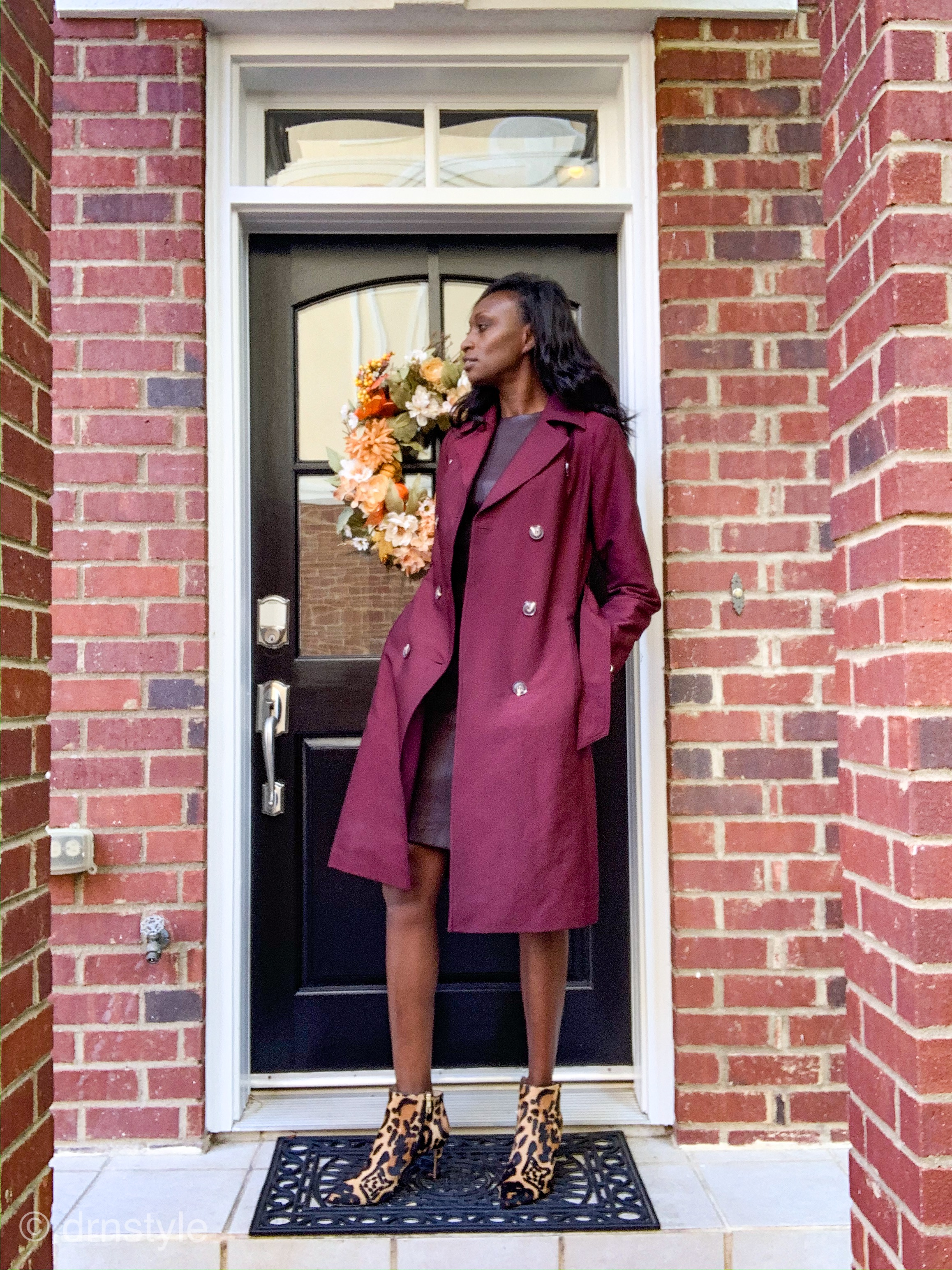 Leather knee-length dress by Vince in Dahlia Wine, worn with Wine colored trench coat from Long Tall Sally and leopard print ankle boots from Nordstrom.