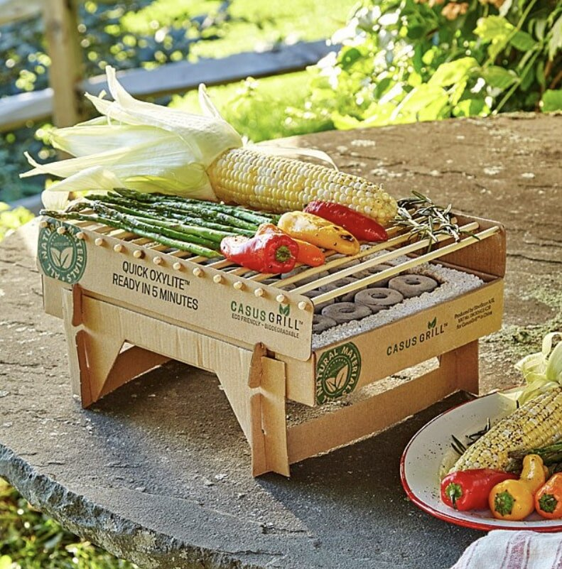 Eco-friendly instant grill, completely biodegradable, grilling an assortment of vegetables.