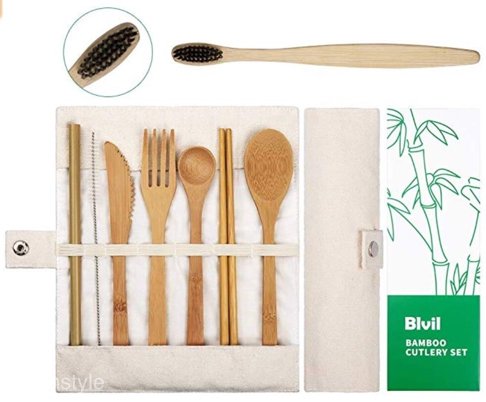 Bamboo cutlery set includes a fork, spoon, knife, straw, chopsticks and a serving spoon and comes in a carrying case.