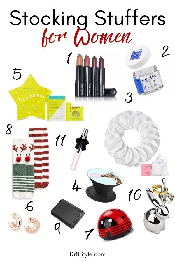 An assortment of stocking stuffers and small gifts that a woman might like for Christmas.