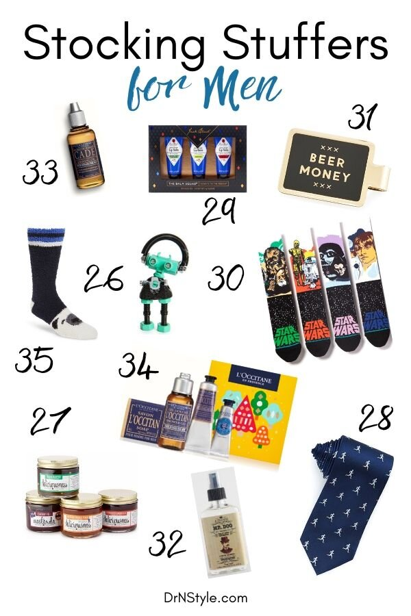 A truly epic assortment of small gifts and stocking stuffers that your husband, dad, or boyfriend will love. Including Star Wars socks, cocktail flavored jam, shaving oil and more.
