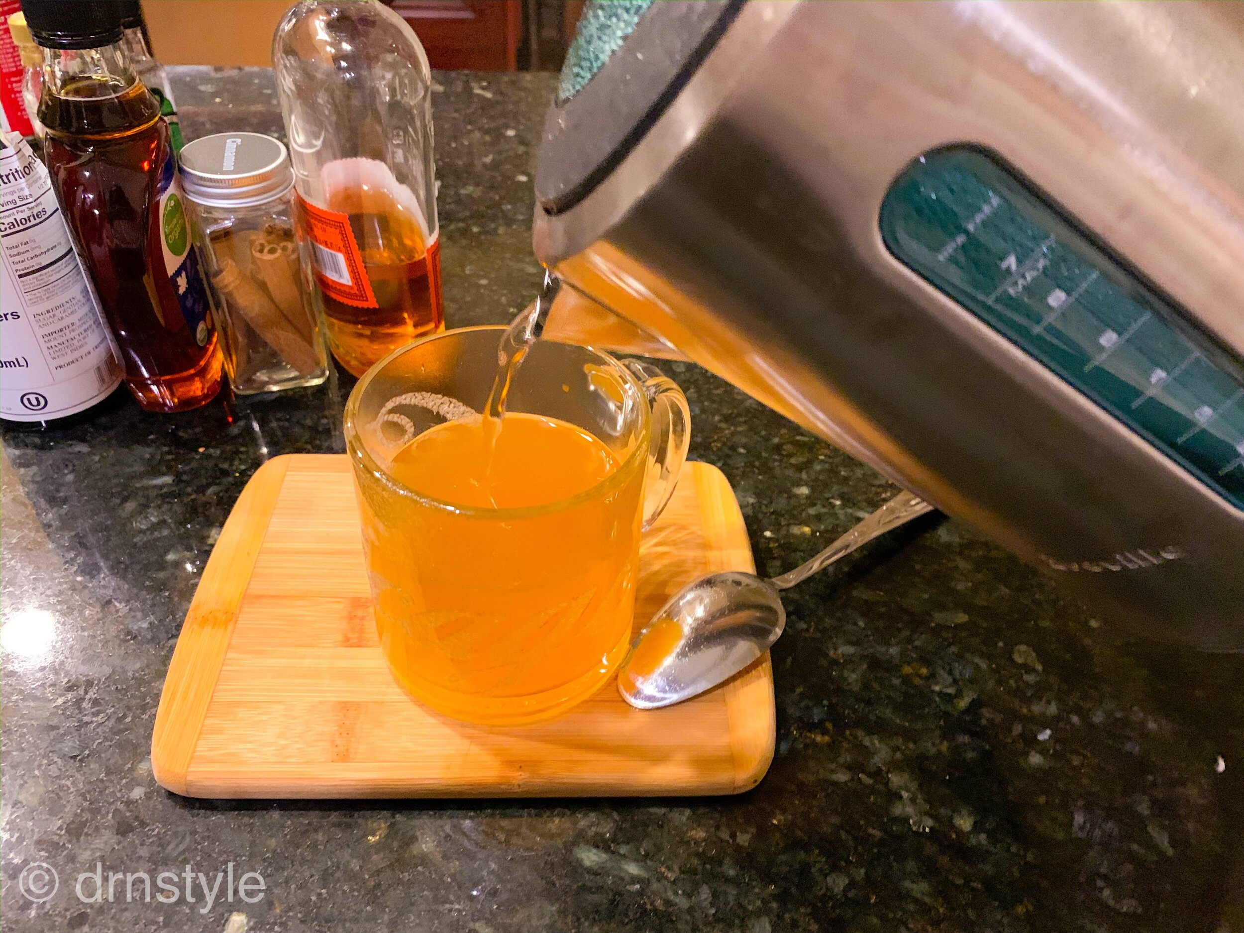 Pumpkin Hot Toddy with Apple Brandy, Whiskey, and Maple Syrup