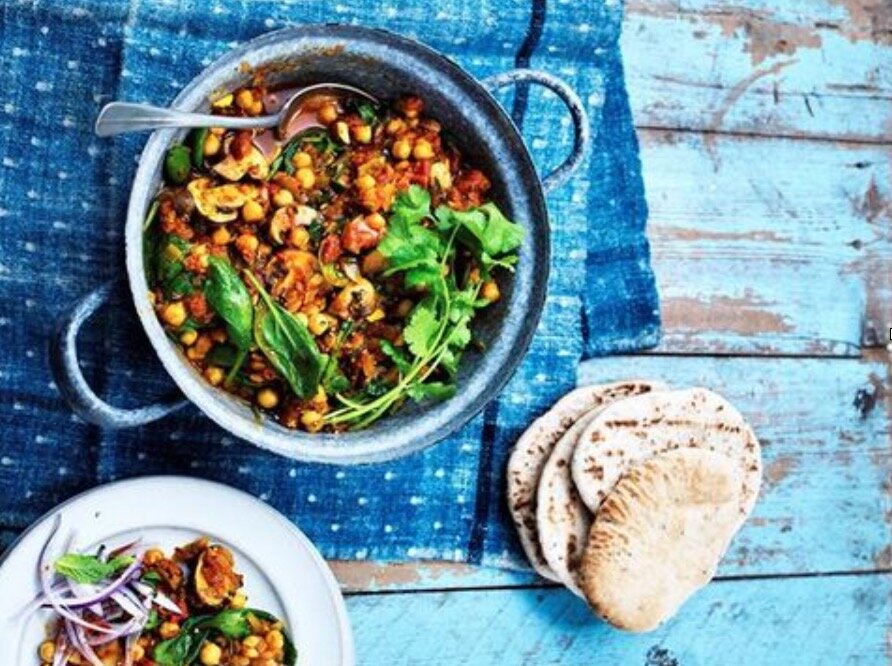 Chestnut Mushroom, Spinach and Chickpea Curry