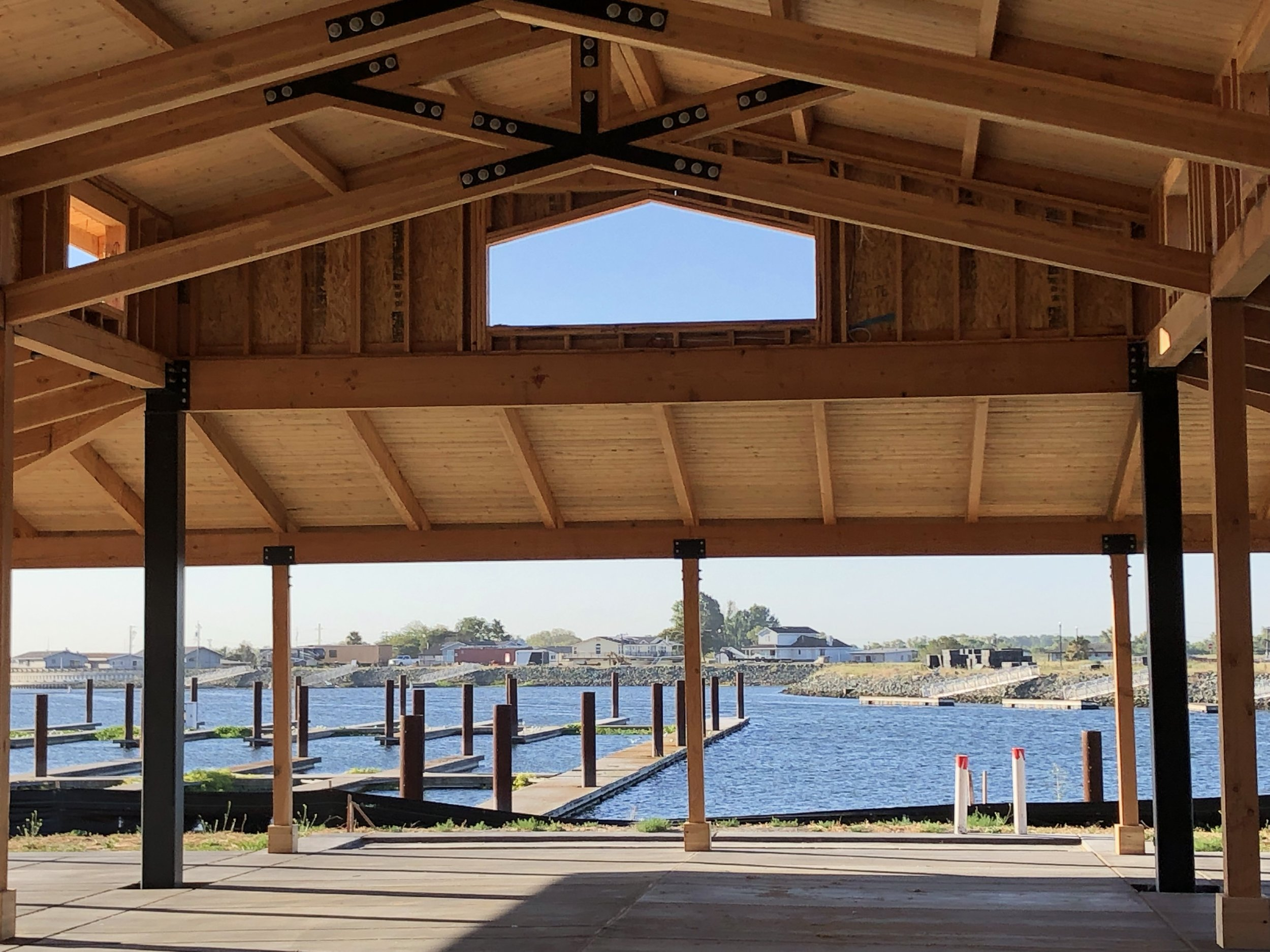 A waterfront yoga studio- just one of the many gathering places currently underway at Delta Coves.