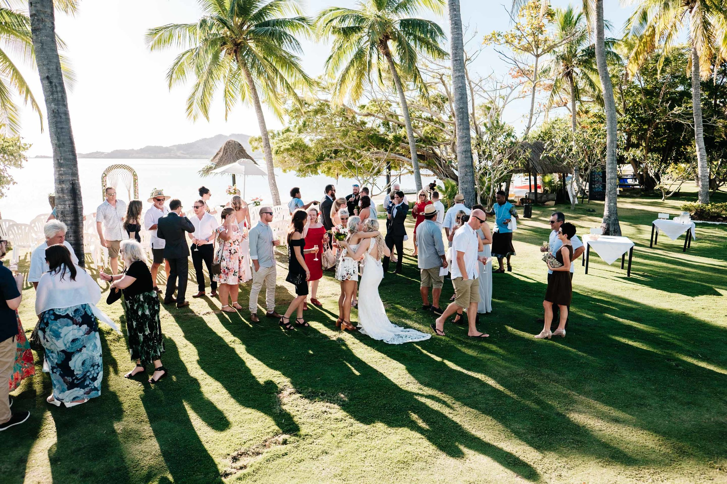guests congratulate the newlyweds