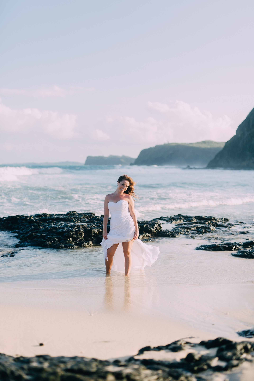 Beautiful Fiji Bride enjoying a trash the dress session