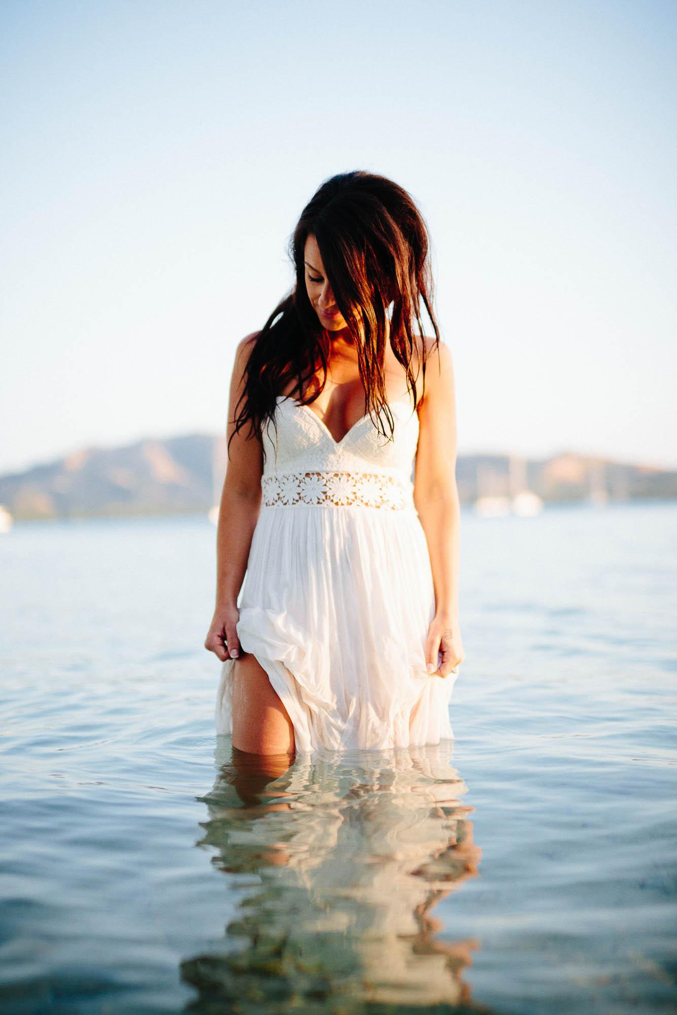 bride wet in the water
