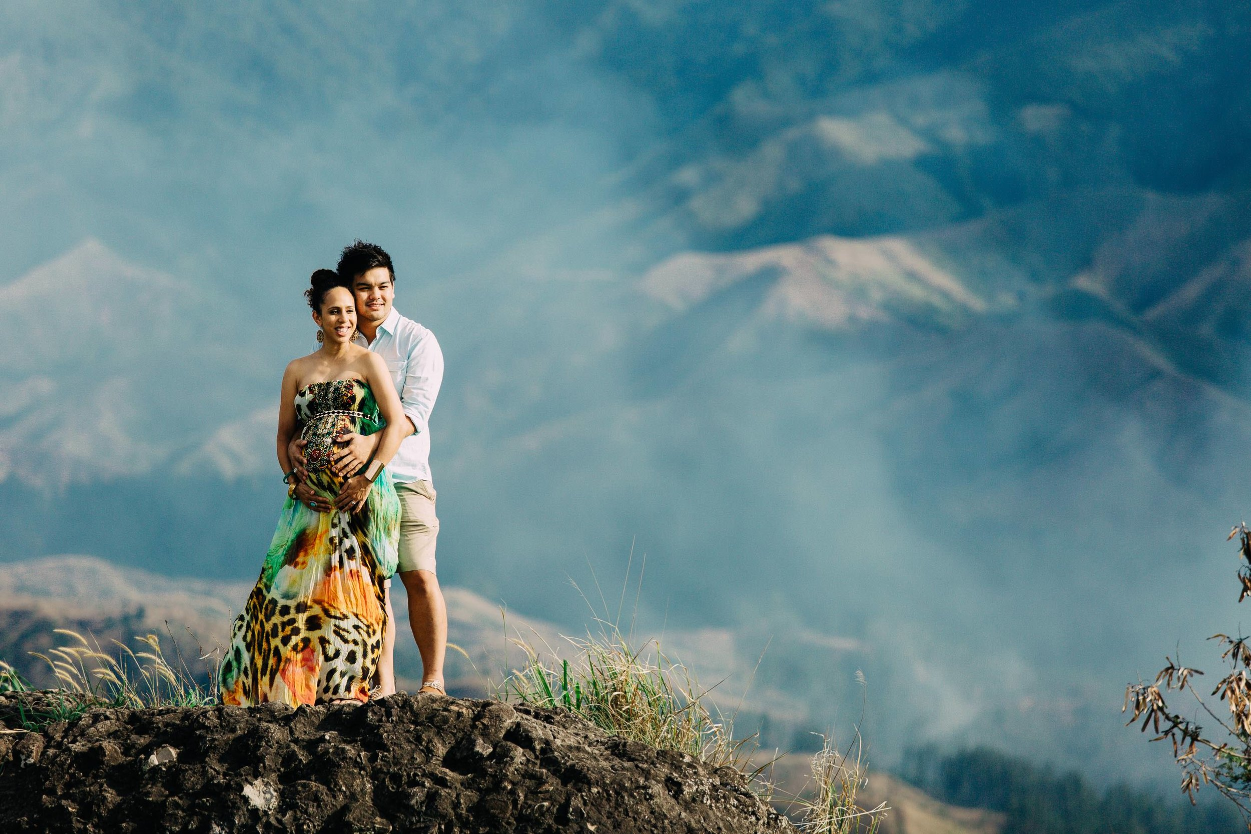 Newly engaged couple on a Nadi mountaintop