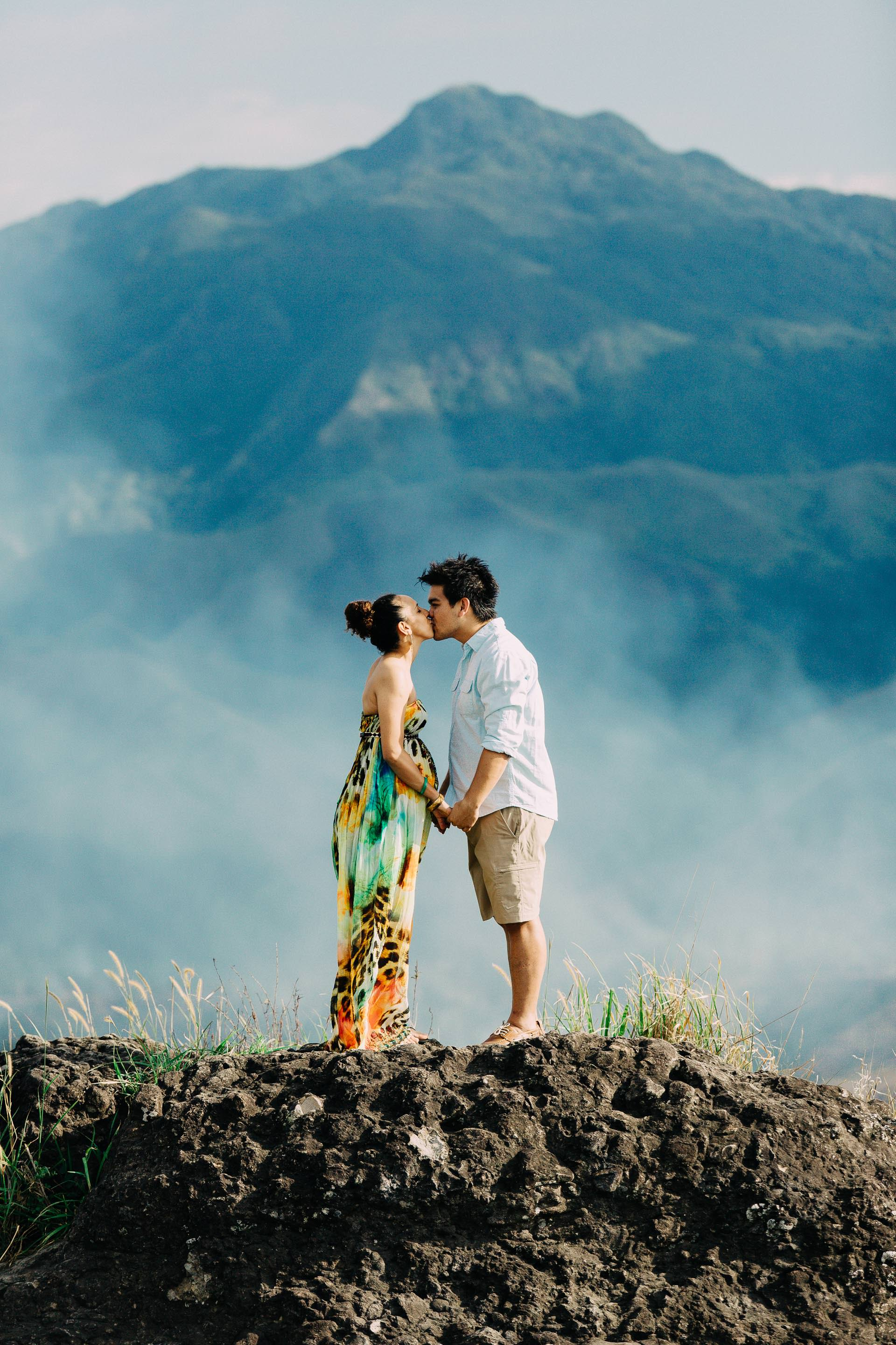 A soft kiss on the top of the mountain