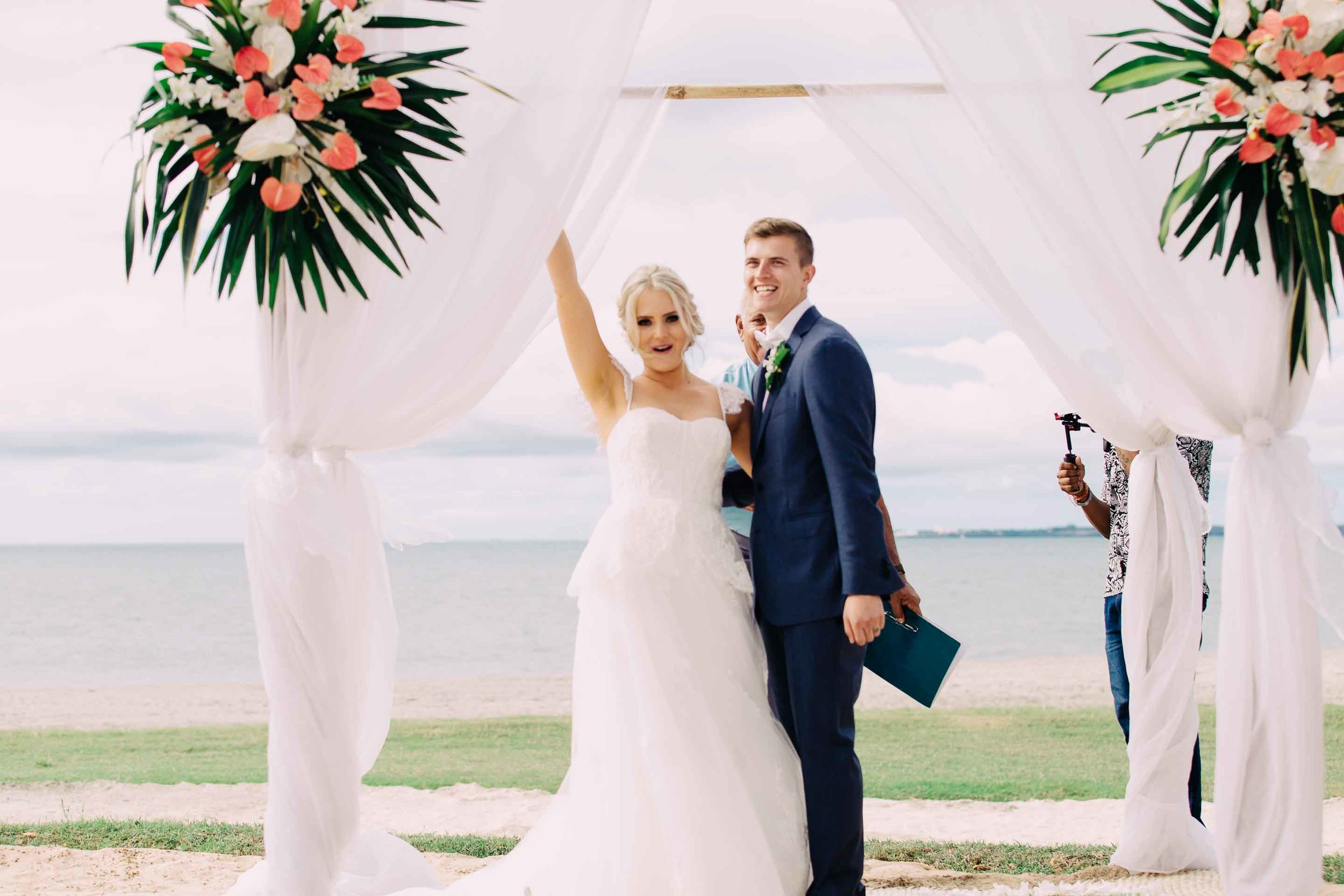Newlyweds. Just pronounced husband and wife