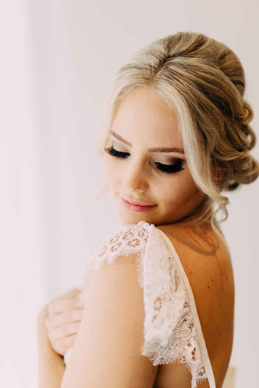 Beautiful bridal hair and makeup.