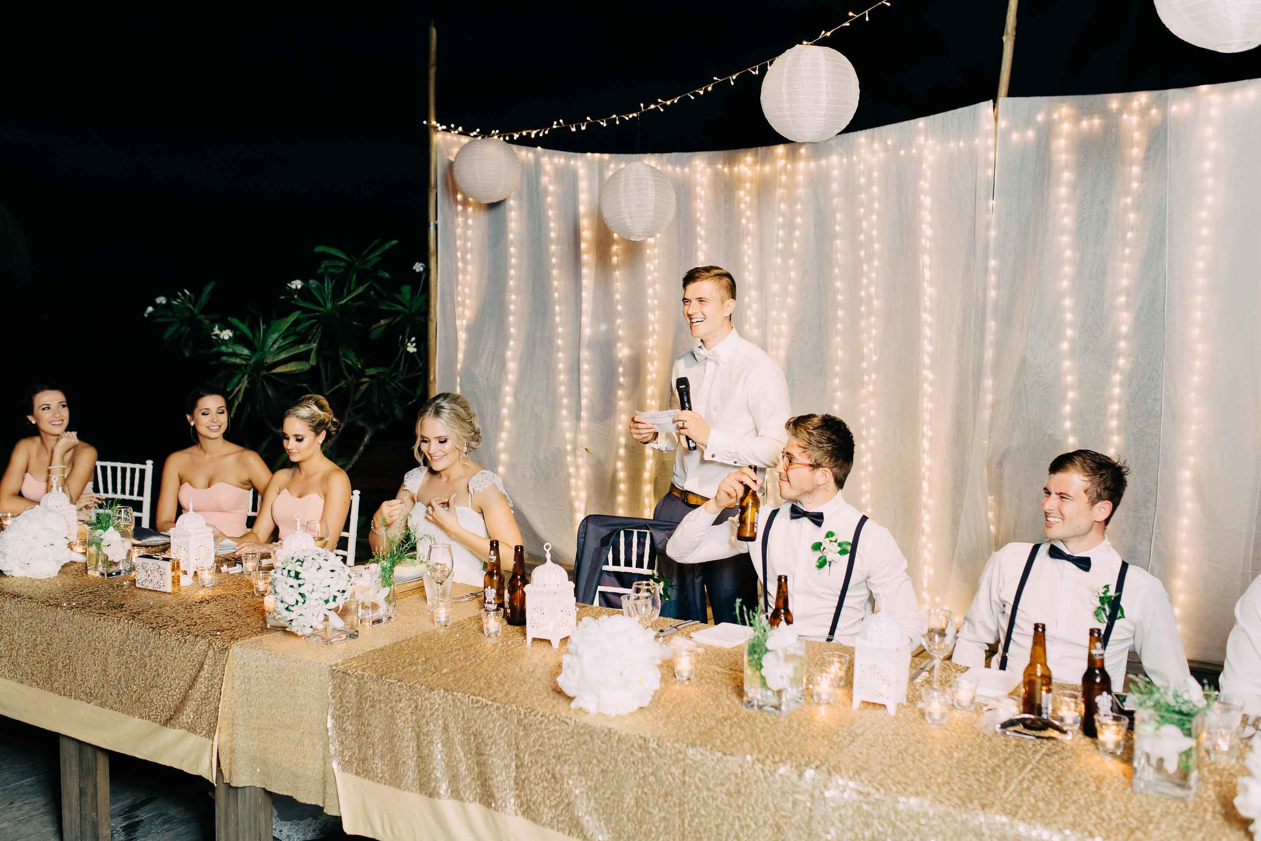 Beautiful white and golden themed Fiji wedding reception set up decorations decor warm white fairy lights at the Hilton