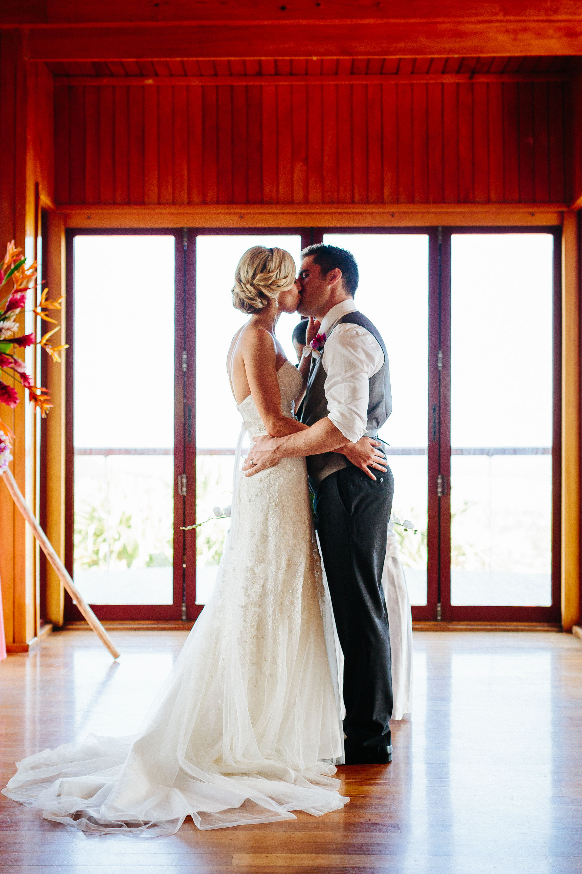 First kiss for the couple married in Fiji