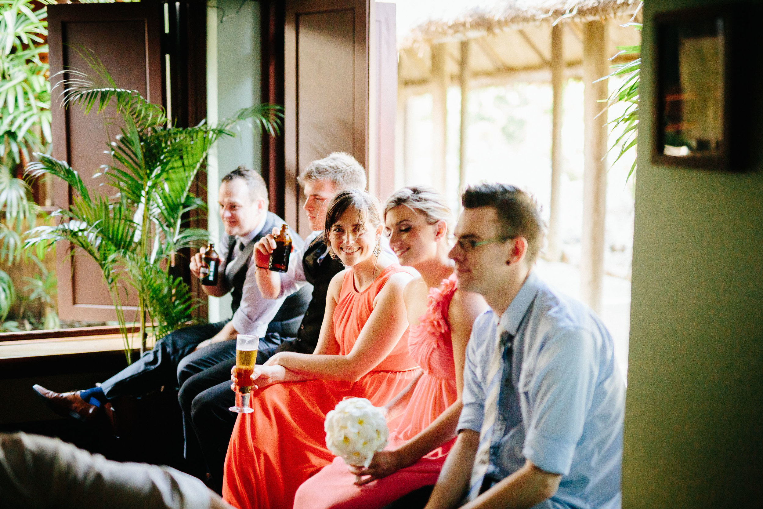 guests enjoying a drink before the reception