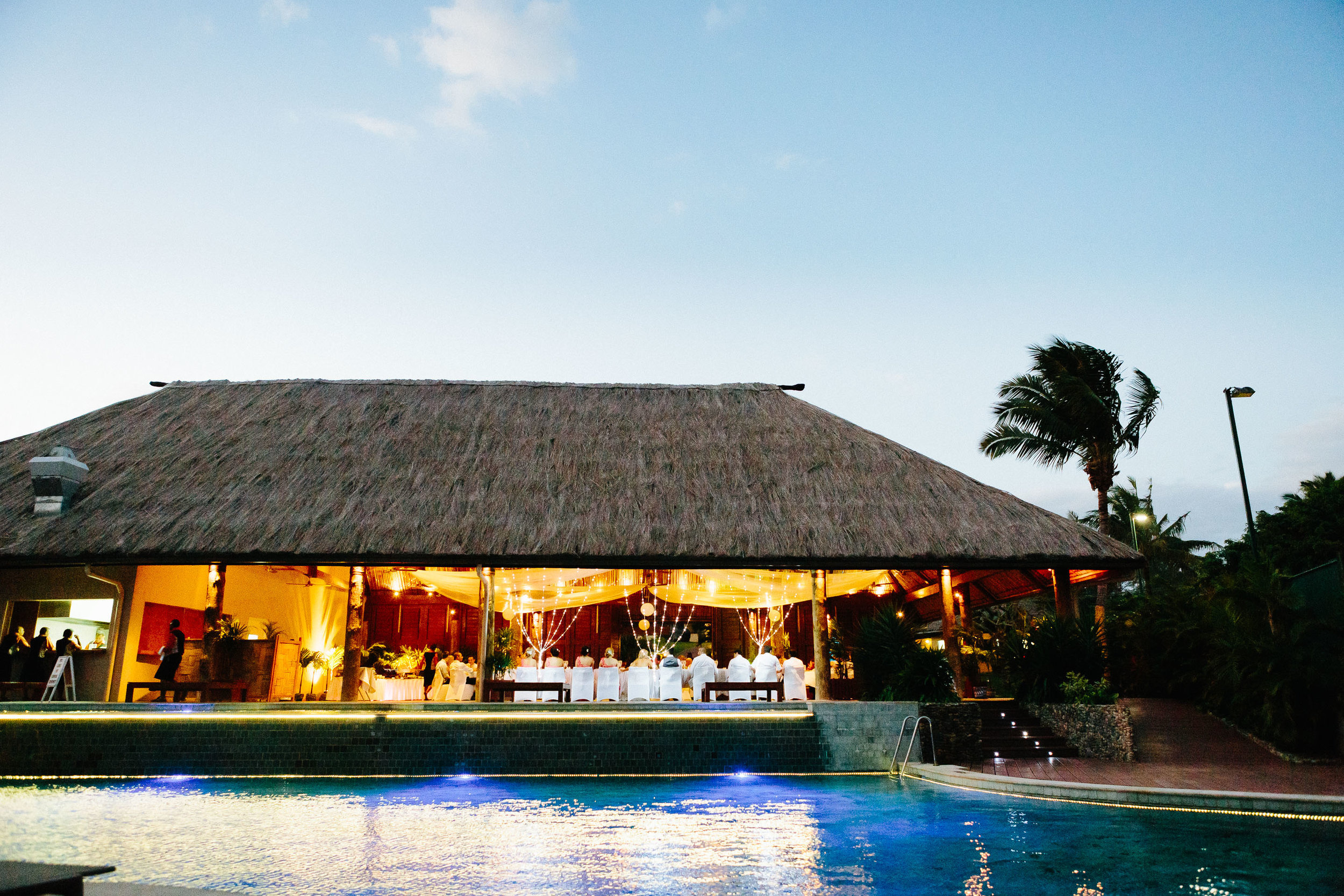 reception venue by the pool