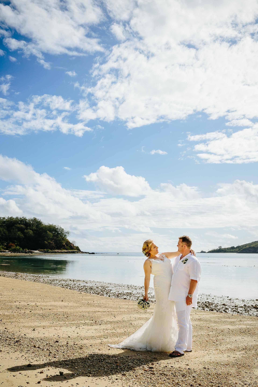 the couple on the sunny beach
