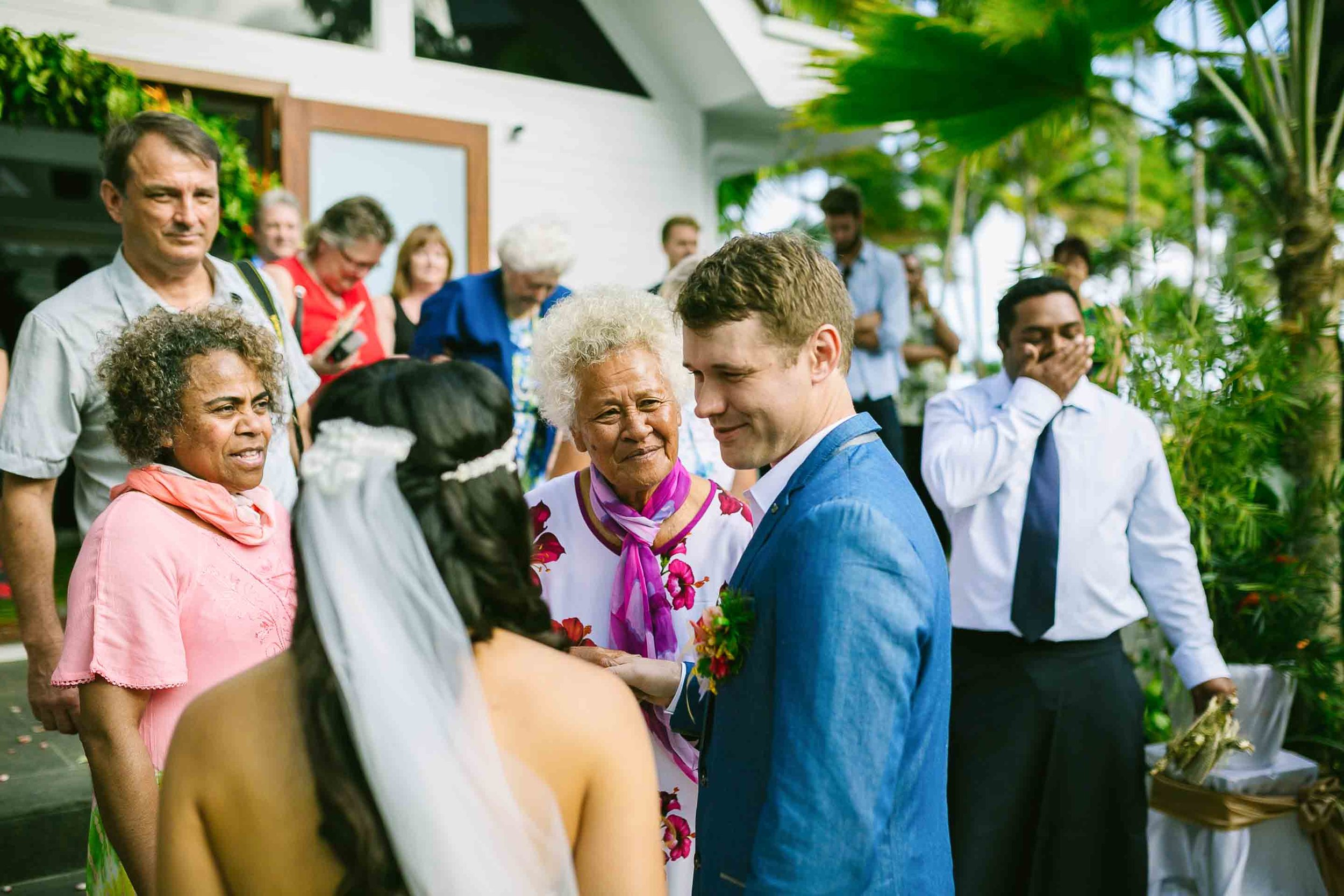 guests congratulating the couple on their marriage