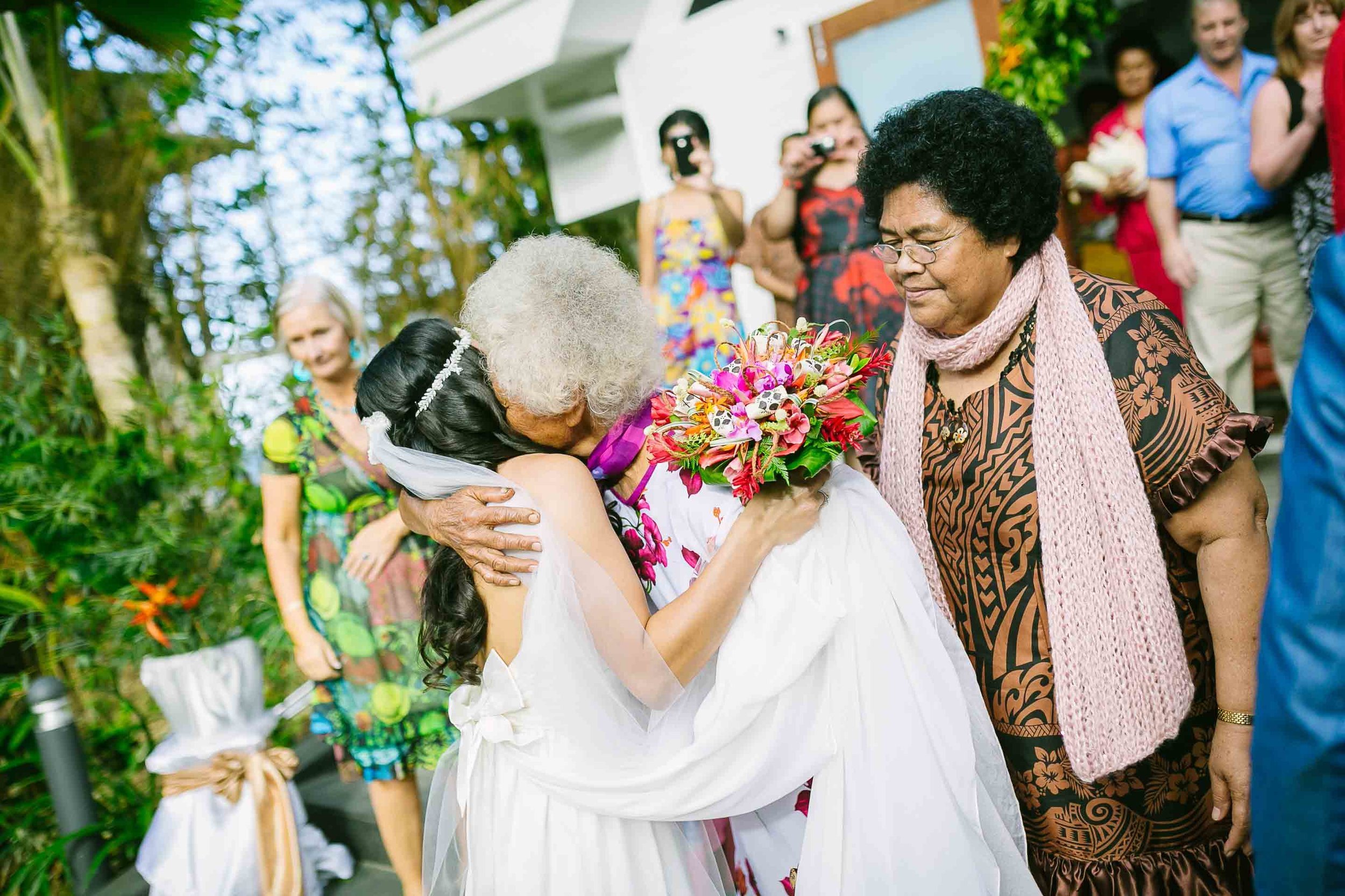 bride and grandmother hugging after the wedding