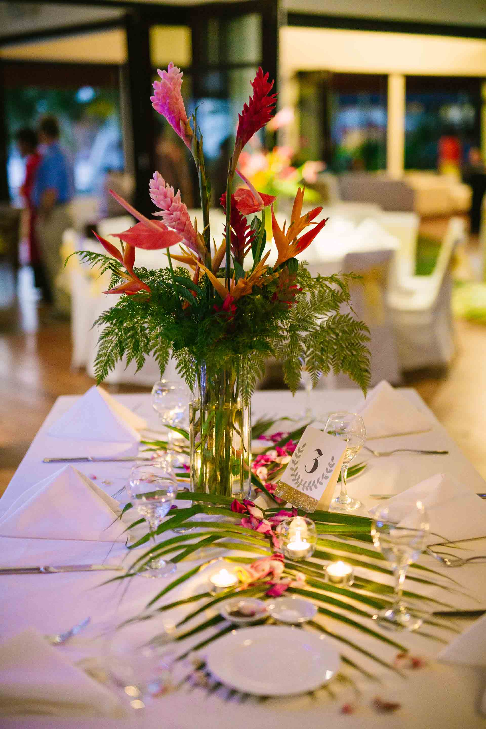table setup of the reception
