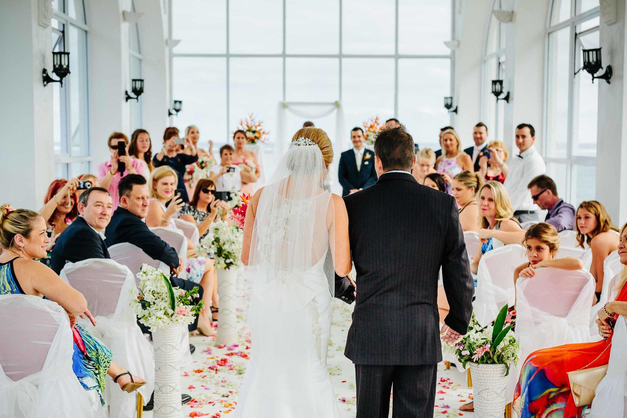 bride entering the chapel