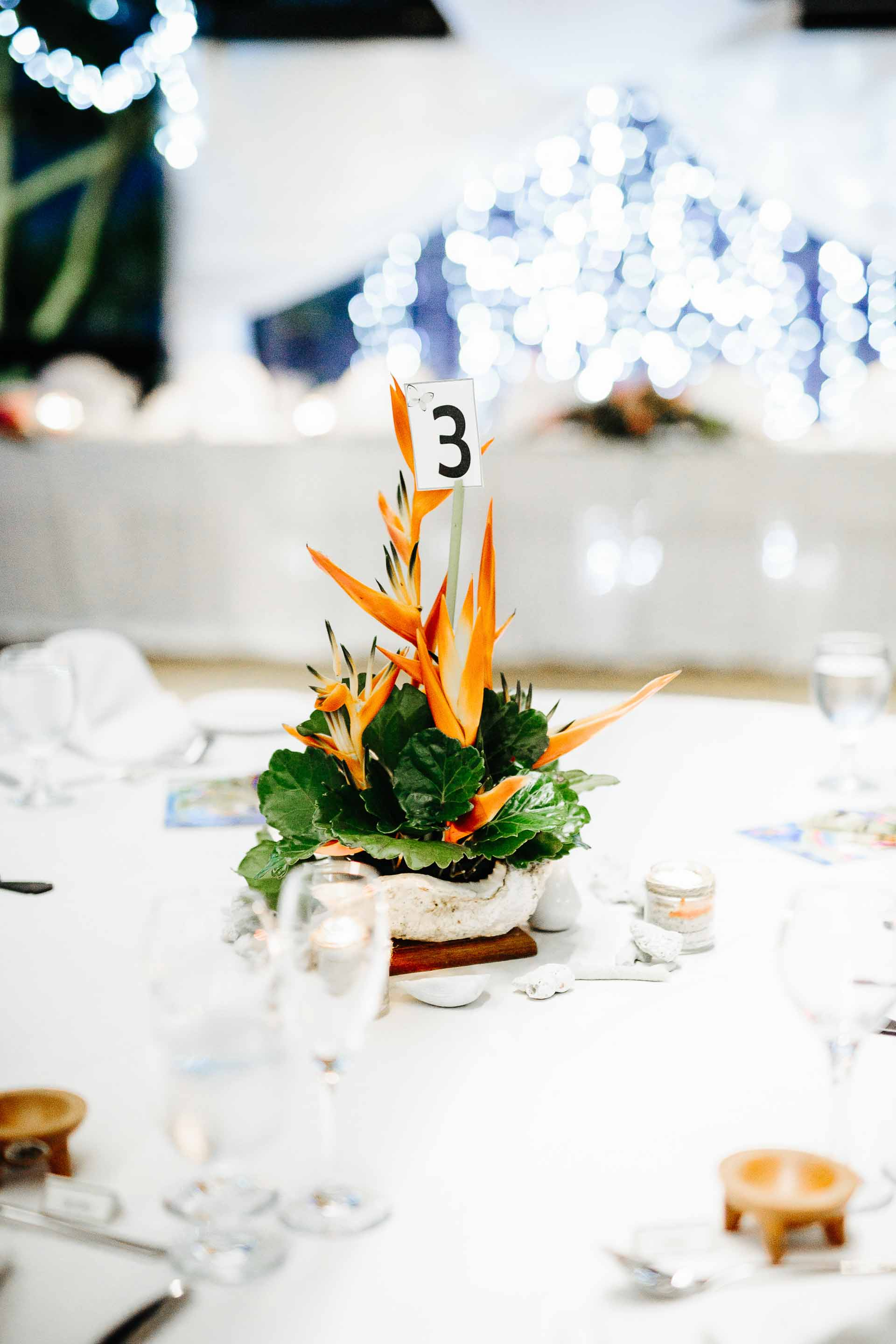 table centre at reception