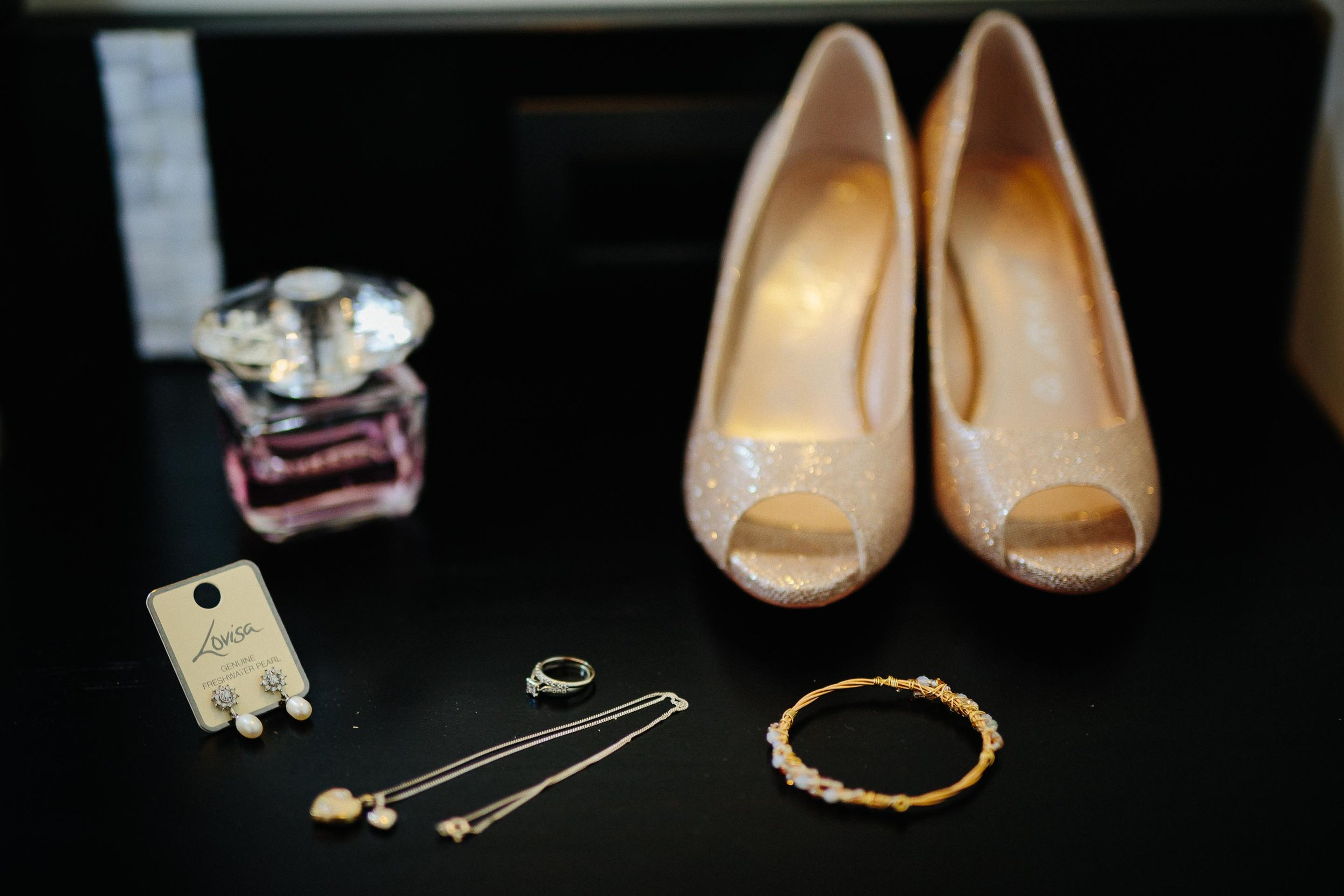 the brides shoes, jewellery and perfume