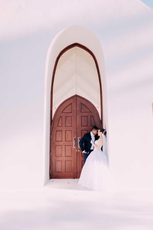 Front door of the white wedding chapel at the Shangri-La's Fijian Resort & Spa