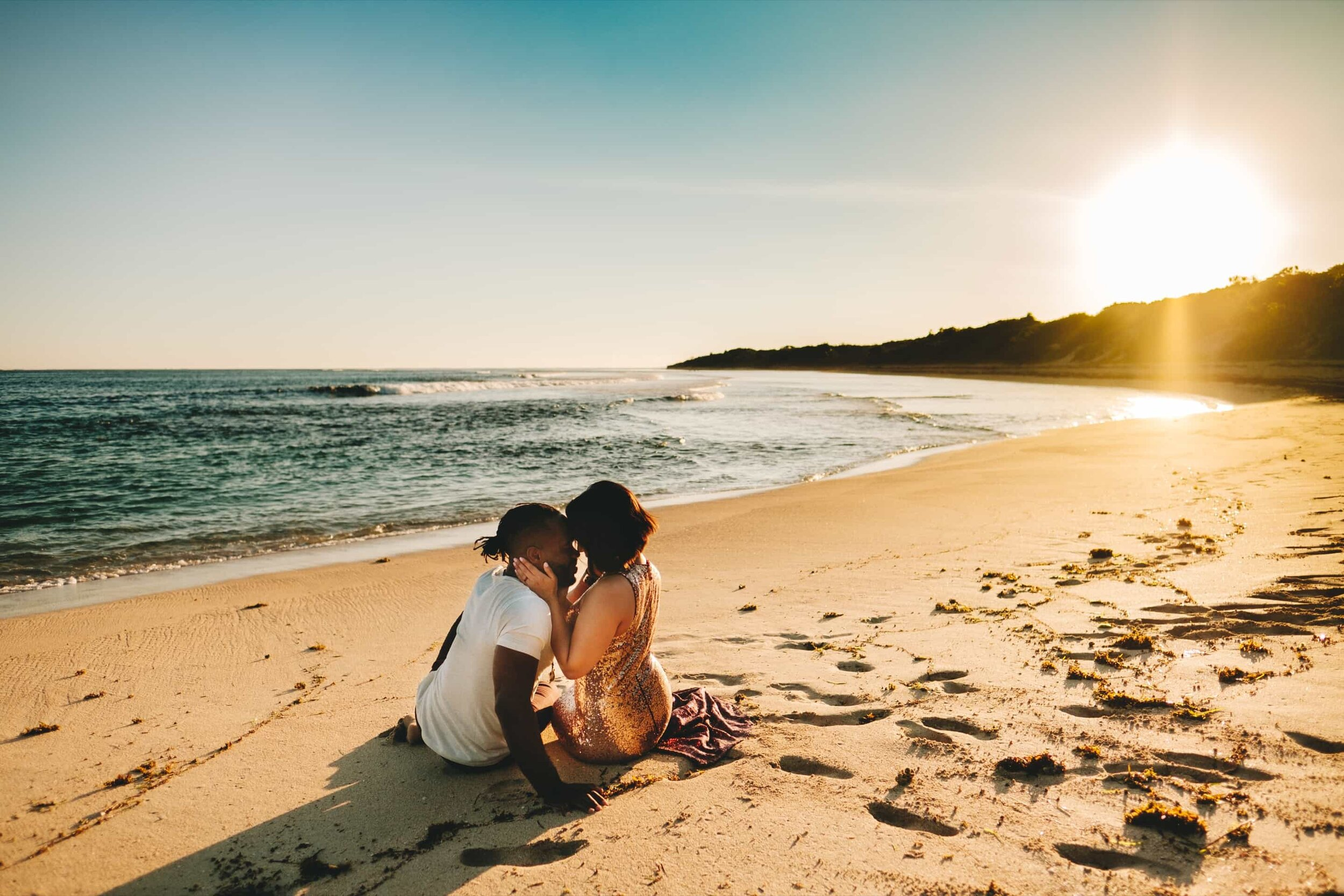 Romantic couple photo session on Natadola Beach at Sunset.
