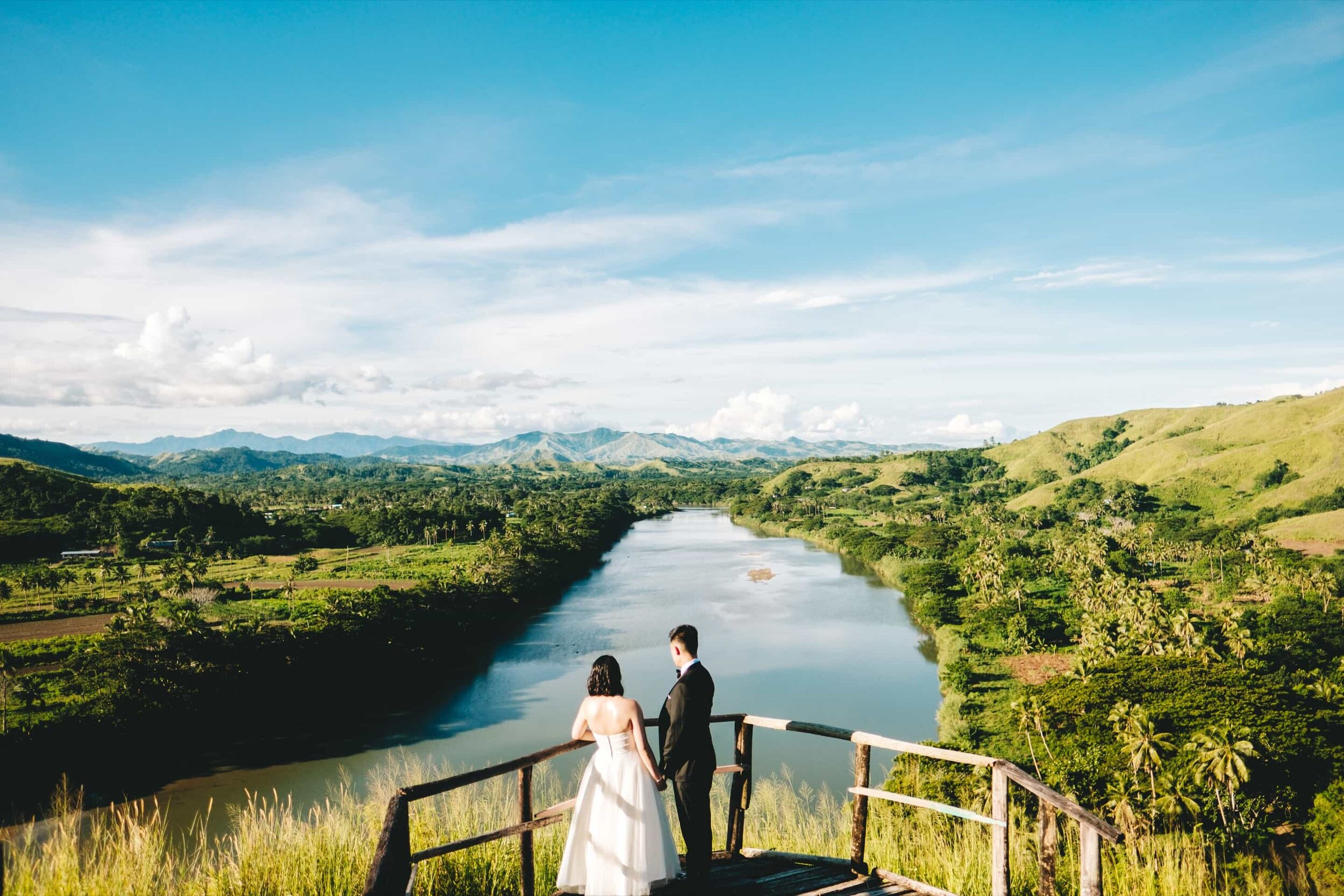 Fiji elopement session of a couple married at the Tavuni Hill Fort looking over the Singatoka River in Fiji.