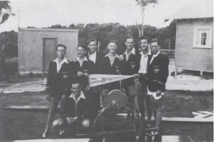 Our R&R team 1947 – 1948   Back, L to R: Don Negus, John Urquhart, Sid Wookey, Les Higham, Ron Hodgson, Brian O'Brien, Alan Love Kneeling: Alan Drydle (Alan Love and Alan Drydle were not members of the team) Les Higham was the first Club Captain   Photo courtesy Eric McGee