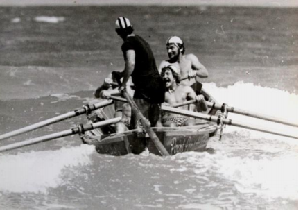 The boat crew at Dee Why, 1975 - Peter Grant, Bob Luce, Lance Hately, Gary McKellar and Rex Dale    Photo courtesy Rex Dale   The second title was won at Dee Why, New South Wales in the 1974 / 1975 season. The record making third title was won in 1975 / 1976 at Clifton Beach in Tasmania. In recent times, the success has continued at the Australian Championships.
