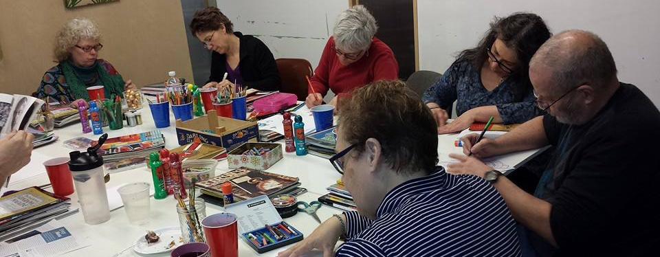 Artists at the table in my studio.
