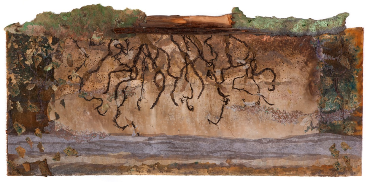 "Roots of Houses, 32""x60"" mixed media fiber art, original artwork.   Prints available.  Our century old houses are built of even older trees when we cut them the roots change the soil."