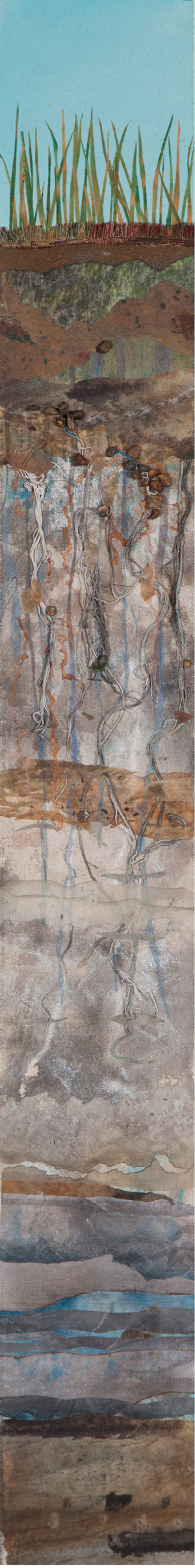 "Soil Horizon 12, 38""x6"" mixed media fiber art.  Fiber mixed media showing the lively dance of roots and grasses in soils and subsoils."