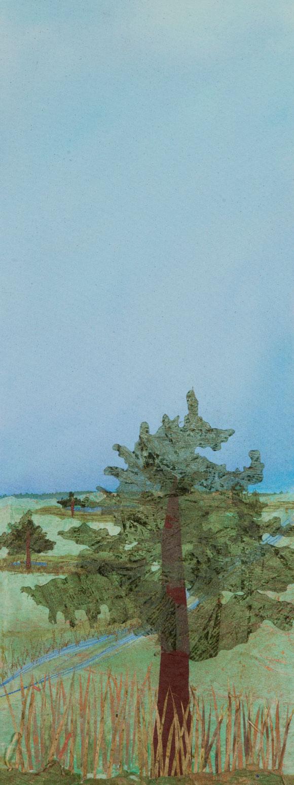 "Burr Oak Prairie, 23""x12"" mixed media fiber art original artwork.   The trees followed the water paths in grasslands that were tall and shortgrass prairie."