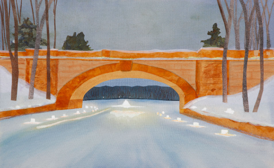 "Isles Luminaires, 18""x22"" mixed media fiber art.  Celebrating the community and beauty in south Minneapolis at mid winter"