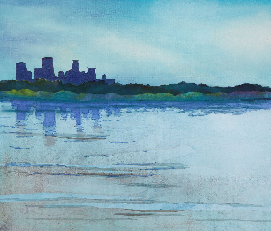 "Skyline Across Bde Maka Ska, 18""x24"" mixed media fiber art.   Minneapolis is built on the places first named by the Dakota people who lived here for millennia."
