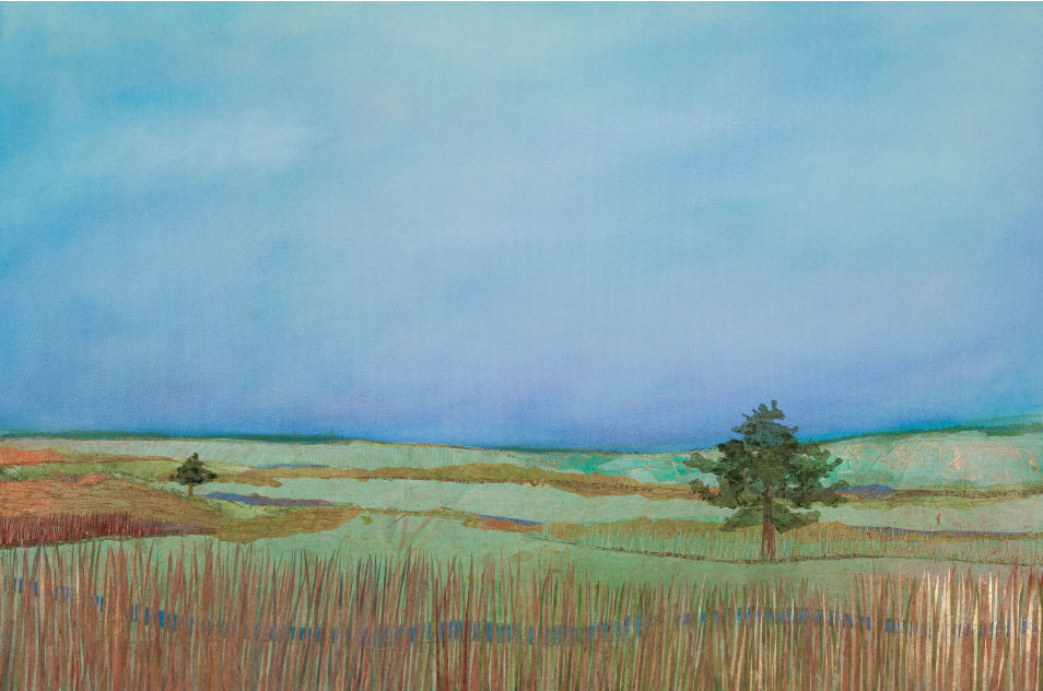 "Oak Savannah, 22""x42""mixed media fiber art original artwork.   Prints available.   Minnesota ecology post glacial retreat pre agriculture was an oak savanna."