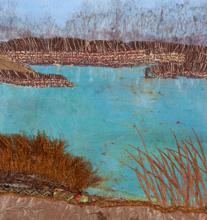 "Sandplain Wetlands, 12""x24""mixed media fiber art.   Carlos Avery Wildlife refuge is a place dedicated to study and conservation of wetland ecology."