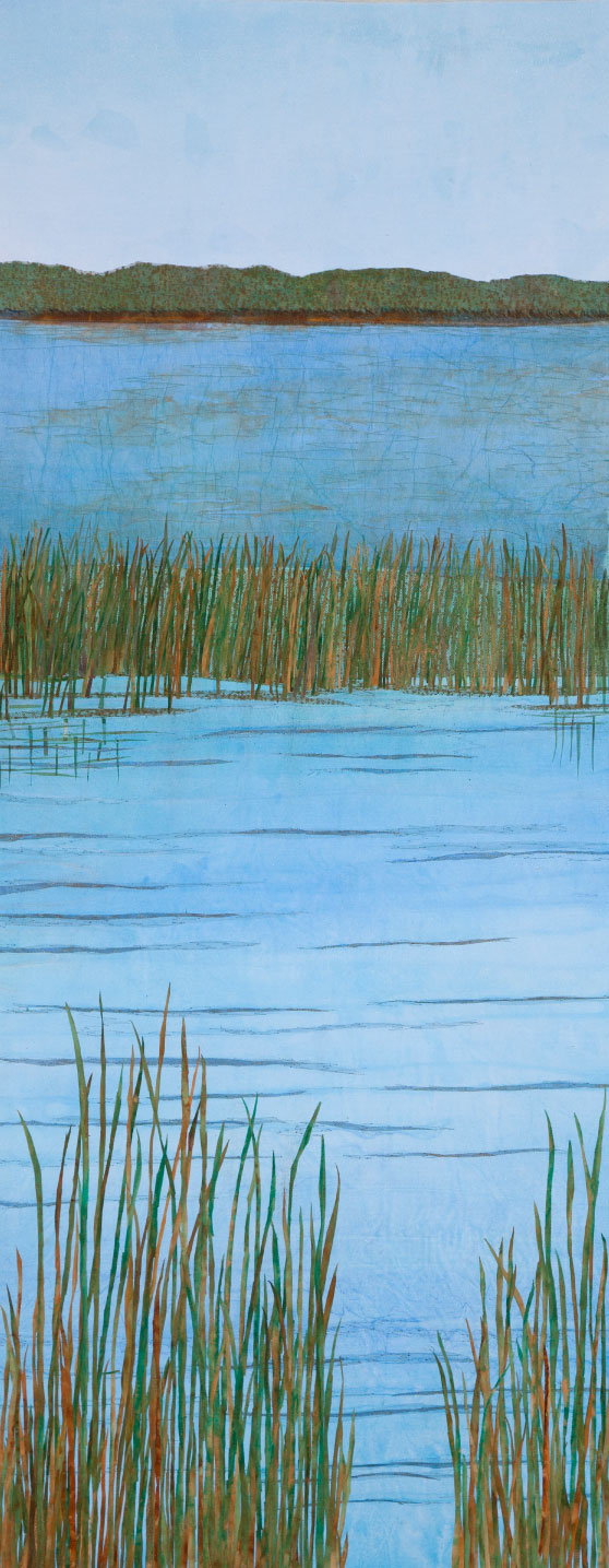 "Summer Lake, 47""x22"" mixed media fiber art.  Minnesota is a place of summer lakes and wetlands keeping the water clear."