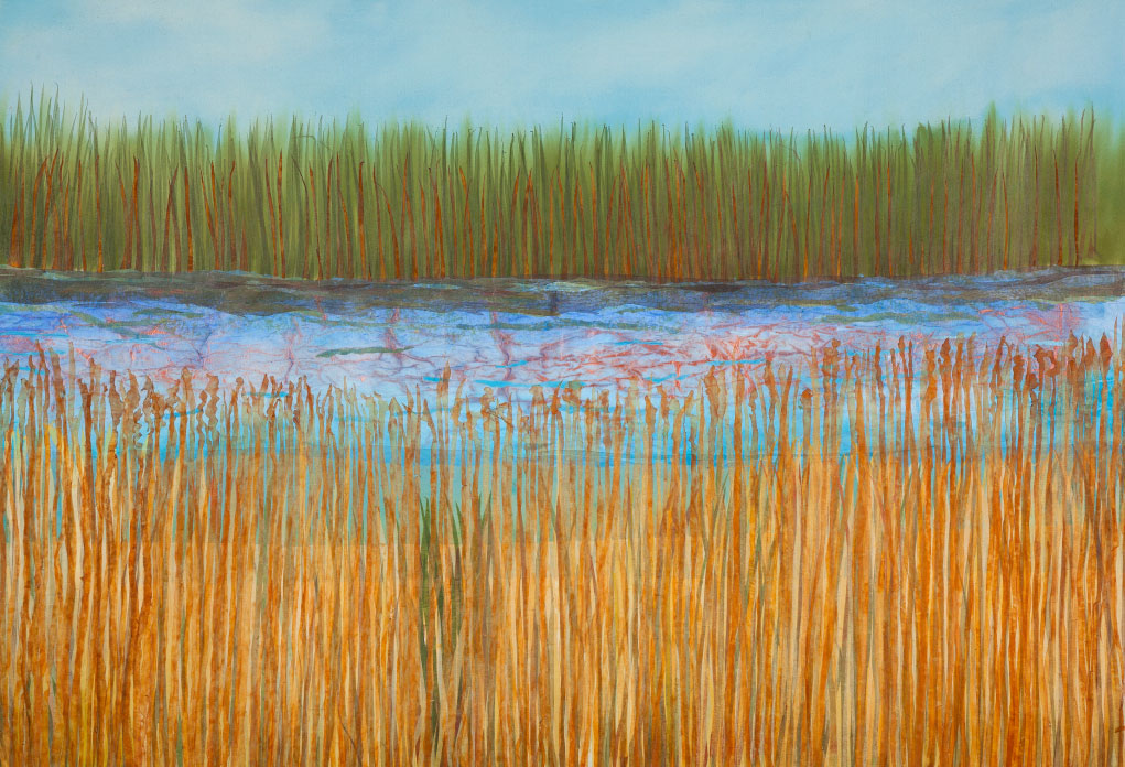 "Wetland, 34""x60"" mixed media fiber art.   Wetlands are important because they protect and improve water quality,"