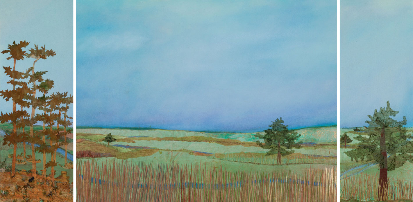 "The Before Triptych, 24""x60"" mixed media fiber art.  Minnesota before European settlement of the forests and prairies."