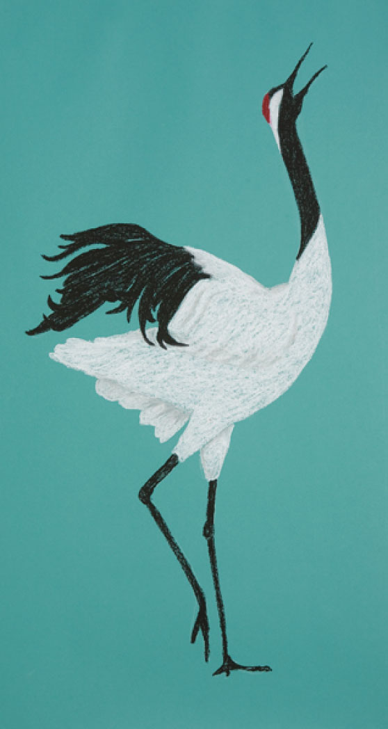 "Crane Call, 48""x26"" drawing.  Cranes are birds of grace who have been on the planet for millions of years."