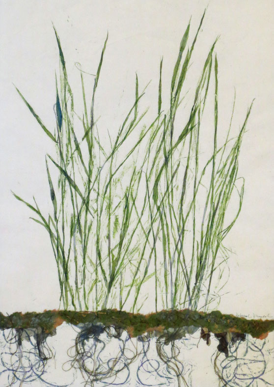 "Rooted Grasses, 20""x16""mixed media art.   Native grasses send deep roots. A mixed media and mono print made with plants."